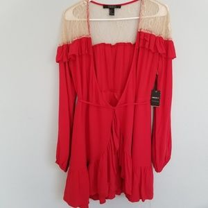 Forever 21 Red contemporary ruffle dress. Sz large